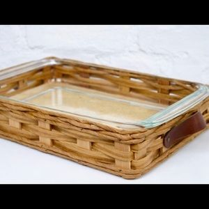Vintage Pyrex Corning dish with wicker basket